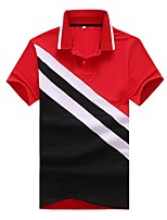cheap -Men's Work Street chic Cotton Slim Polo - Color Block Plaid Check, Patchwork Shirt Collar