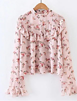 cheap -Women's Flare Sleeve Blouse - Floral Crew Neck