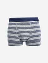 cheap -Men's Normal Micro-elastic Striped Boxers Underwear Medium, Cotton One-piece Suit Red Navy Blue Gray Yellow