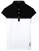 cheap -Men's Vintage Polo - Color Block Shirt Collar