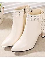 cheap -Women's Shoes PU Spring Fall Fashion Boots Comfort Boots Stiletto Heel Booties/Ankle Boots for Casual White Black