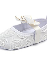 cheap -Girls' Shoes Fabric Spring Fall Crib Shoes First Walkers Flats Bowknot Magic Tape for Casual Outdoor White Black Pink