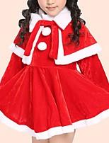 abordables -Vestido Chica de Diario Un Color Algodón Manga Larga Invierno Casual Rojo