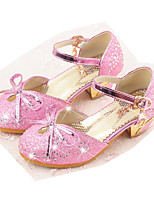 cheap -Girls' Shoes Sparkling Glitter Spring Fall Flower Girl Shoes Comfort Heels Bowknot Buckle for Party & Evening Dress Silver Pink