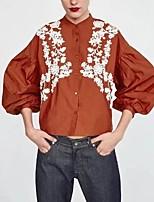 abordables -Tee-shirt Femme,Couleur Pleine Brodée Basique