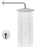 cheap -Contemporary Shower System Rain Shower Ceramic Valve Single Handle Three Holes Chrome, Shower Faucet