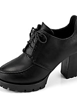 cheap -Women's Shoes PU Fall Winter Fashion Boots Comfort Boots Chunky Heel Booties/Ankle Boots for Casual Black Red