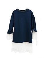 abordables -Robe Fille de Quotidien Vacances Couleur Pleine Mosaïque Coton Polyester Spandex Printemps Eté Manches Longues simple Mignon Bleu