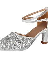 "cheap -Women's Latin Paillette Leatherette Heel Party Training Sequin Buckle Paillette Cuban Heel Silver 2"" - 2 3/4"" Customizable"