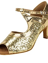 cheap -Women's Latin Sparkling Glitter Tulle Faux Leather Sandal Heel Professional Splicing Customized Heel Gold Customizable