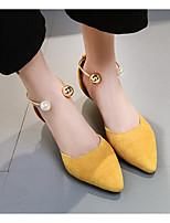 baratos -Mulheres Sapatos Microfibra Primavera Outono Plataforma Básica Conforto Saltos Salto Cone para Casual Preto Amarelo