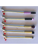 cheap -5-Pack Powder Brush Eyelash Brush Lip Brush Blush Brush Synthetic Hair Eco-friendly Soft Comfy Full Coverage Anodized Aluminum Eye Face