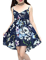 cheap -Girl's Daily Holiday Solid Colored Floral Dress, Cotton Polyester Summer Sleeveless Basic Boho Blue Red