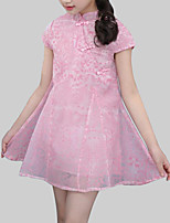 cheap -Girl's Daily Print Dress, Rayon Polyester Summer Short Sleeves Chinoiserie Blushing Pink Gray