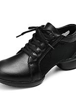 cheap -Women's Dance Sneakers Calf Hair Sneaker Indoor Outdoor Chunky Heel White Black Red Customizable