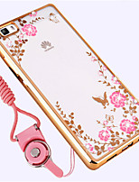 cheap -Case For Huawei P8 Shockproof Rhinestone Back Cover Flower Soft TPU for Huawei P8