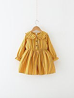 cheap -Girl's Holiday Striped Dress, Cotton Polyester Spring Long Sleeves Cute Active Yellow