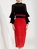 abordables -Mujer Camisa - Color sólido Escote Chino Falda