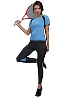 cheap -Women's Activewear Set Short Sleeve Wearable Bottoms / Top for Jogging POLY Green / Blue / Pink M / L / XL