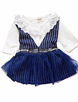 baratos -Menina de Vestido Diário Listrado Primavera Poliéster Manga Longa Simples Azul Marinha Cinzento