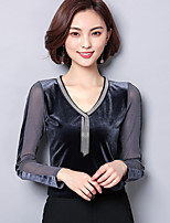 cheap -Women's Basic Blouse - Solid Colored V Neck