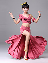 cheap -Belly Dance Outfits Training Polyester Split Ruching Side Draping Short Sleeves Dropped Skirts Top