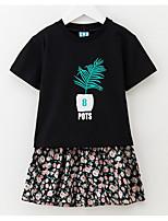 Недорогие -Девочки Набор одежды Повседневные Хлопок Цветочный принт Лето С короткими рукавами Черный Серый