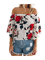cheap -Women's T-shirt - Floral Boat Neck