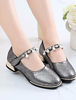 cheap -Girls' Shoes PU Spring Fall Tiny Heels for Teens Comfort Heels for Casual Gold Silver Light Purple