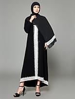 abordables -Femme Grandes Tailles Sortie Bohème Manche Gigot Mousseline de Soie Balançoire Abaya Robe - Mosaïque, Couleur Pleine Taille haute Col en V