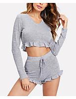 abordables -Costumes Pyjamas Femme-Fendu,Couleur Pleine