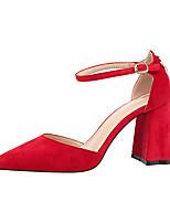 baratos -Mulheres Sapatos Camurça Primavera Outono Conforto Saltos Salto Robusto Dedo Fechado para Escritório e Carreira Preto Cinzento Vermelho Nú