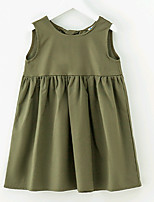 cheap -Girl's Solid Dress Summer Simple Green