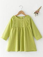 cheap -Girl's Daily Solid Dress, Polyester Summer Long Sleeves Simple Light Green