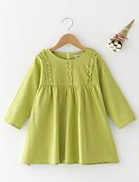 abordables -Robe Fille de Quotidien Couleur Pleine Polyester Eté Manches Longues simple Vert Claire