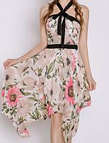 abordables -Femme Manche Papillon Coton Mince Mousseline de Soie Robe - Ruché, Fleur Taille haute A Bretelles Midi