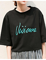 cheap -women's daily street chic spring summer t-shirt round neck short sleeves polyester