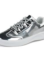 baratos -Homens sapatos Couro Ecológico Primavera Outono Conforto Tênis para Casual Branco Preto Prateado