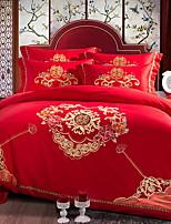 cheap -Duvet Cover Sets Geometric Pattern 4 Piece Poly/Cotton Embroidery Poly/Cotton 1pc Duvet Cover 2pcs Shams 1pc Flat Sheet