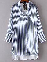 cheap -Women's Basic Street chic Puff Sleeve Shirt - Striped Shirt Collar