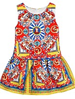 cheap -Girl's Daily Floral Dress, Polyester Spring Summer Sleeveless Cute Red