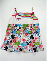 cheap -Girl's Daily Holiday Floral Color Block Patchwork Dress, Cotton Summer Sleeveless Cute Active Rainbow