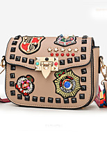 cheap -Women's Bags PU Shoulder Bag Rivet / Appliques for Shopping / Casual Red / Brown / Khaki