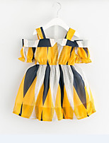cheap -Girl's Party Daily Striped Color Block Dress, Cotton Summer Sleeveless Active Basic Yellow