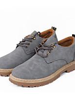 Недорогие -Муж. обувь Полиуретан Весна Осень Удобная обувь Туфли на шнуровке для Повседневные Черный Серый Коричневый