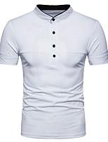 cheap -Men's Active Basic Chinoiserie Cotton Polo - Striped Shirt Collar