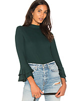 cheap -Women's Going out Slim T-shirt - Solid Colored Basic Off Shoulder