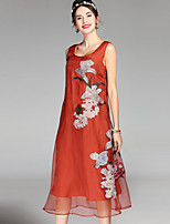 cheap -Women's Sophisticated Chinoiserie Loose Dress - Floral, Embroidered