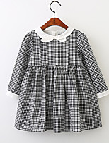 cheap -Girl's Going out School Solid Check Jacquard Dress, Cotton Spring Summer Long Sleeves Simple Vintage White