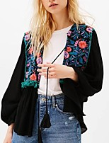 cheap -Women's Basic Blouse-Solid Colored,Embroidered